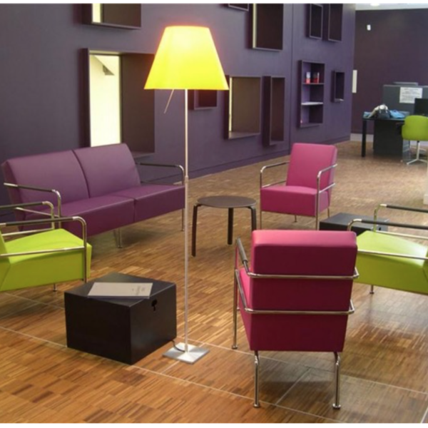 This brightly colored reception and waiting room will make your clients feel welcome.