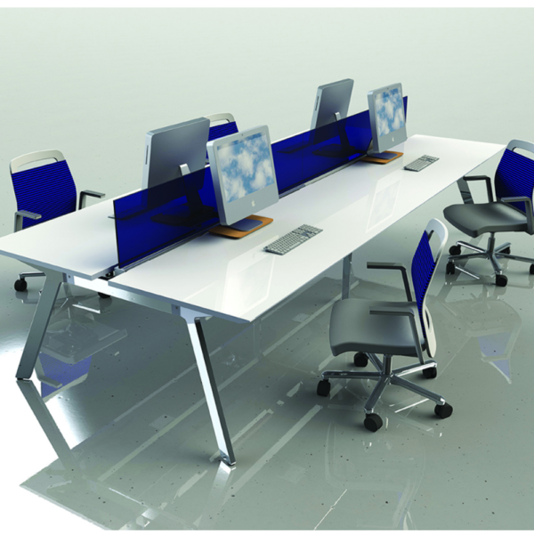 Clean and modern multistation work table with monitor stands.