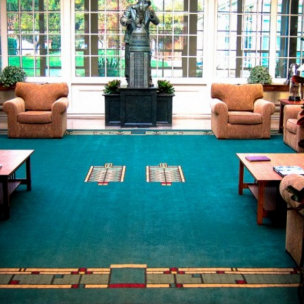 Lobby with custom design carpet.